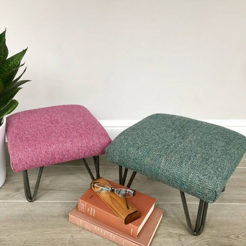 Retro Style British Wool Footstool On Hairpin Legs, ...