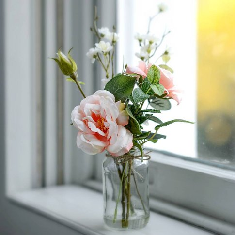 Faux Blossom And Peach Rose Posy With Vintage Jar Vase