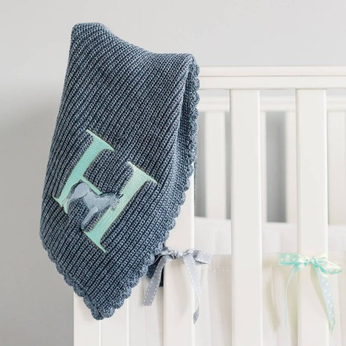 Personalised Alphabet Knit Blanket Blue, White/Grey