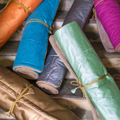 Holistic Silk Yoga Rug Mat, Aqua/Gold/Pink
