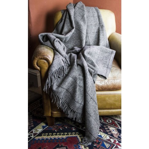 Hebridean Classic Wool Throw, Grey/Brown/White