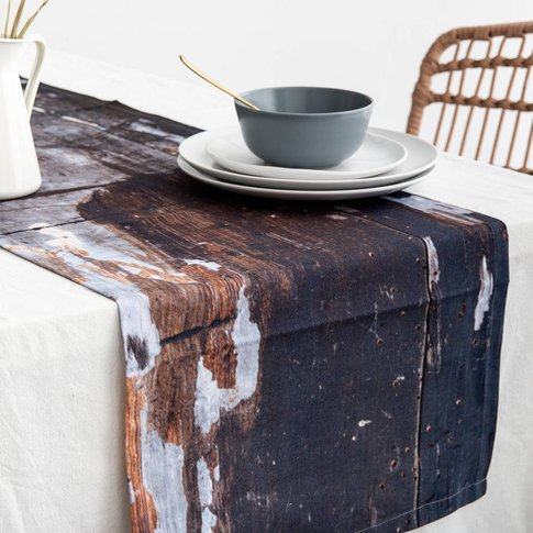 Abstract Textured Cotton Table Runner 'Wholesome'