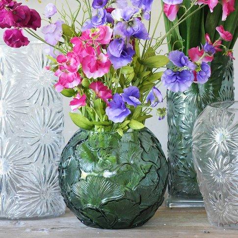 Ginkgo Embossed Globe Vase