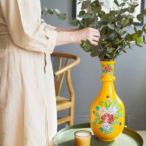 Large Acid Yellow Cast Iron Vase