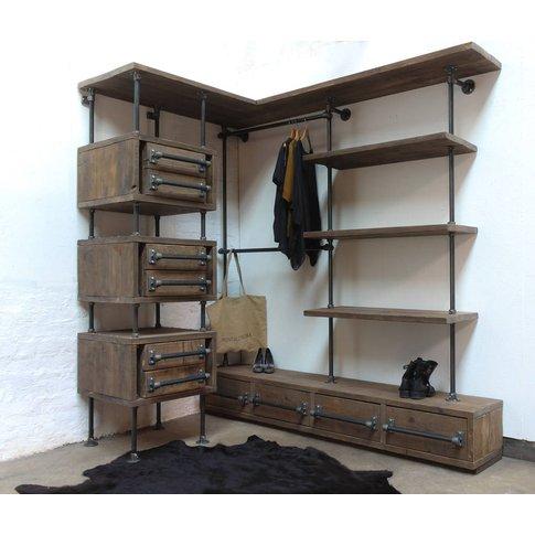 Stefan Reclaimed Scaffolding And Pipe Open Wardrobe