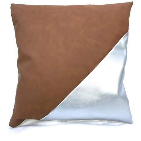 Vegan Leather Tan Silver Cushion