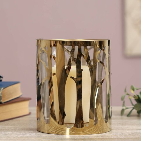 Golden Trees Hurricane Candle Holder