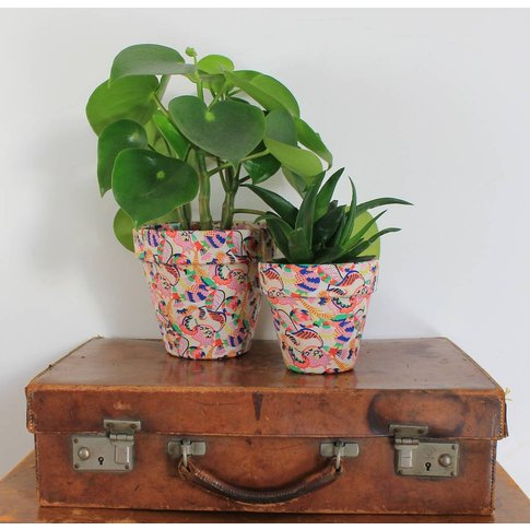 Vibrant Patterned Fabric Covered Plant Pot