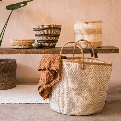 Natural Speckled Or White Stripe Woven Laundry Basket