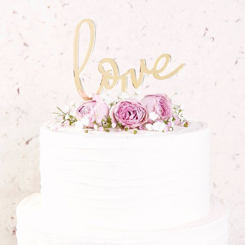 Love Mirror Cake Topper Simple