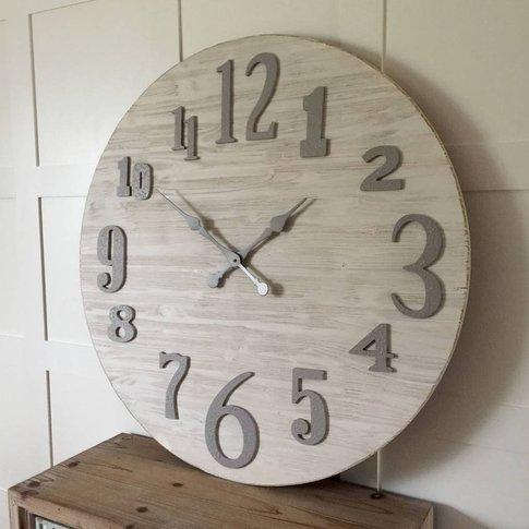 Large Round Coastal Whitewashed Cream Wood Clock