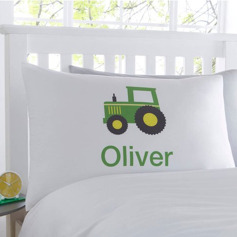 Farm Tractor Personalised Pillowcase, Green/Blue/Red