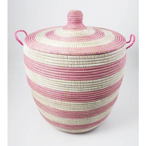 Alibaba Laundry Basket Pink Stripe Medium Ast1 P/M