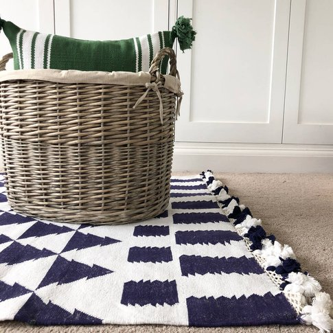 Navy And White Handwoven Rug