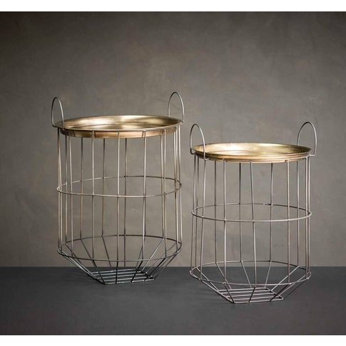 Brass And Metal Open Cut Side Tables