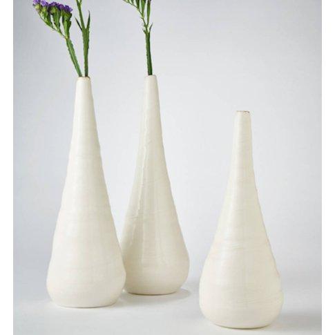 Ceramic Porcelain Bronze Rim Single Stem Vase