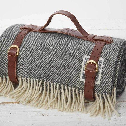 Warm Grey Herringbone Luxury Picnic Rug