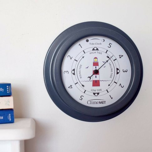 Customisable Red Lighthouse Tide Clock, Grey/Bronze