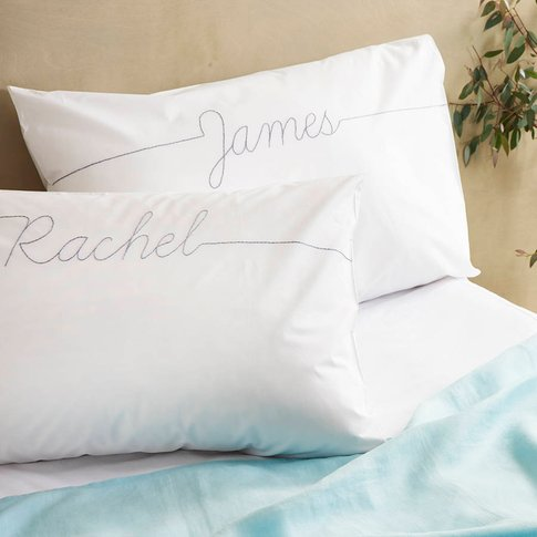 Personalised Couples Script Embroidered Pillowcase S...