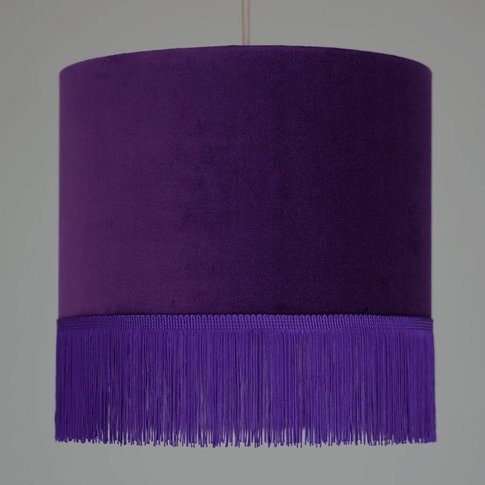 Purple Velvet Lampshade With Choice Of Fringe Colours
