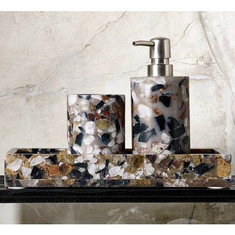 Deep Amber And Grey Marble Soap Dispenser