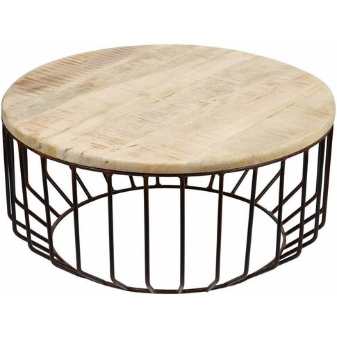Metal Cage And Oak Wide Side Table