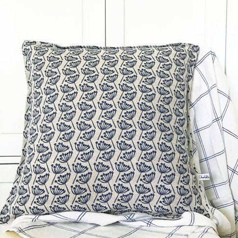 Navy Cow Parsley Linen Cushion