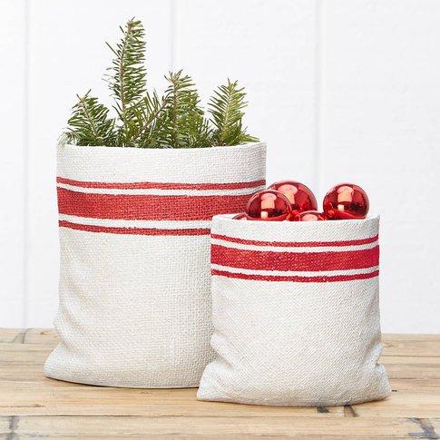 Resin Christmas Sack Planter Set