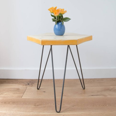 Wooden Hexagon Coffee Table With Marigold Yellow Edges