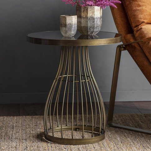 Bronzed Round Side Table With Smoked Glass Top
