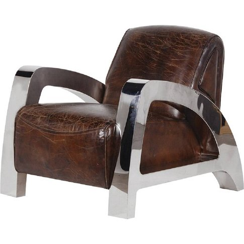 Antique Italian Leather And Steel A Frame Armchair