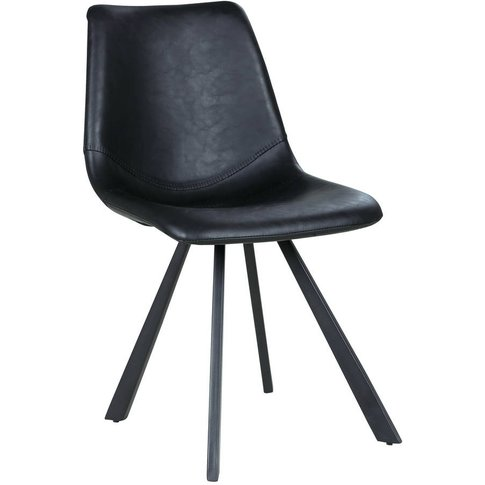 Black Faux Leather And Steel Dining Chair Set Of Two