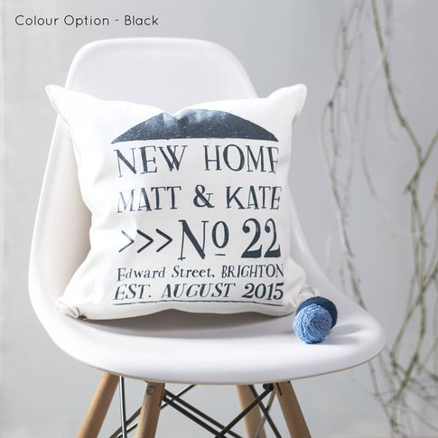 New Home Cushion Personalised For New Home Owners, Black/Blue/Grey