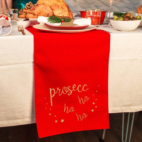'Prosecc Ho Ho Ho' Large Table Runner