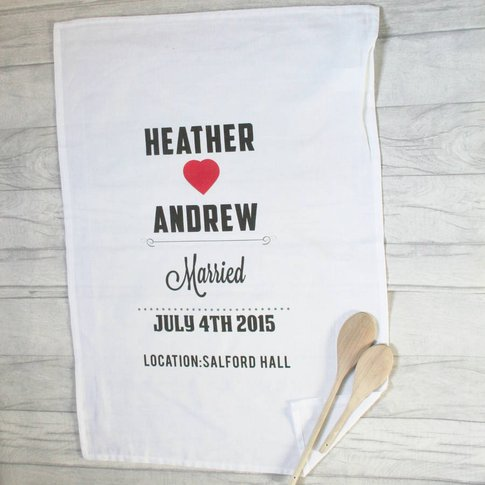 Personalised Cotton Tea Towel Heart And Names