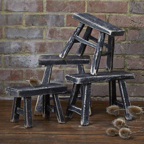 Vintage Black Miniature Stools