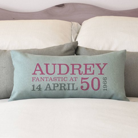 Personalised 50th Birthday Rectangular Cushion, Crea...