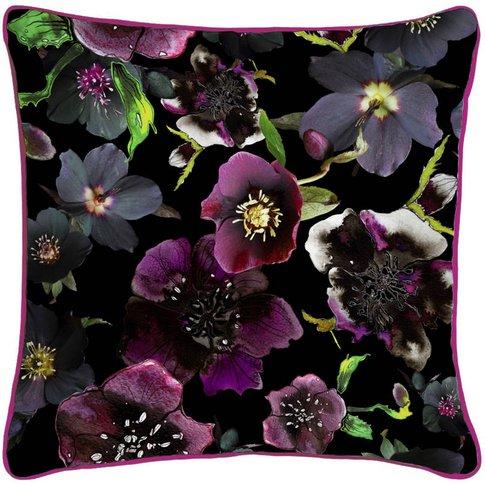 Midnight Floral Botanical Silk Cushion