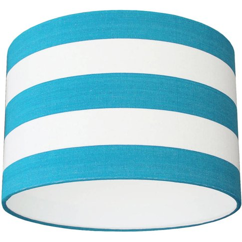 Turquoise Blue And White Deckchair Stripe Lampshade