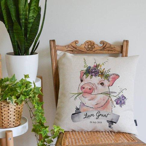 Watercolour Pig Personalised Cushion