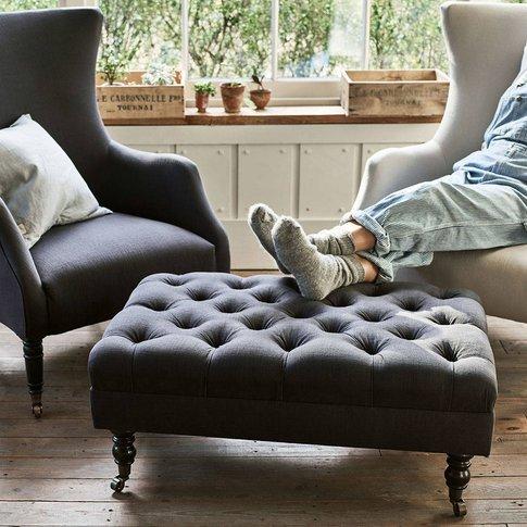 Elbert Buttoned Footstool, Charcoal