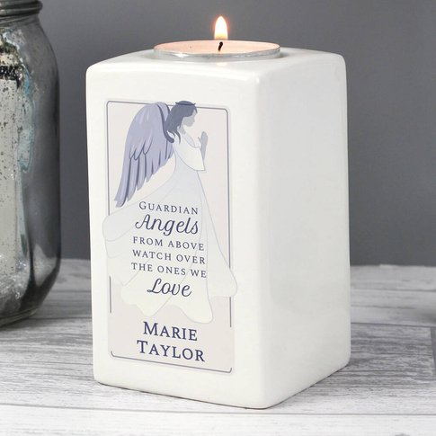 Personalised Angel Memorial Tea Light Candle Holder