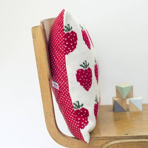 Personalised Knitted Strawberries Cushion