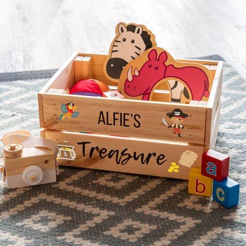 Personalised Pirate Treasure Toy Box Crate