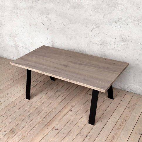 Albert Grey Oak Dining Table A Shaped Legs