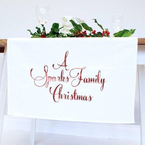 Personalised Family Christmas Table Runner, Copper/G...