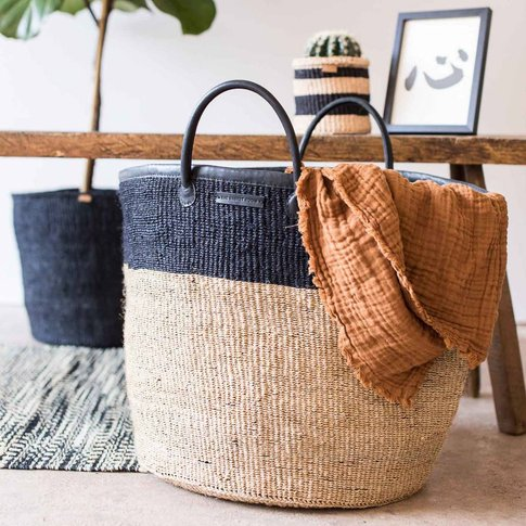 Natural And Black Colour Block Woven Laundry Basket