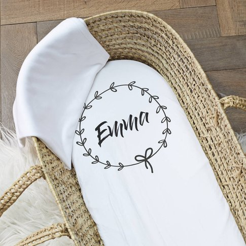 Personalised 'Wreath' Pram/Moses Basket Sheet