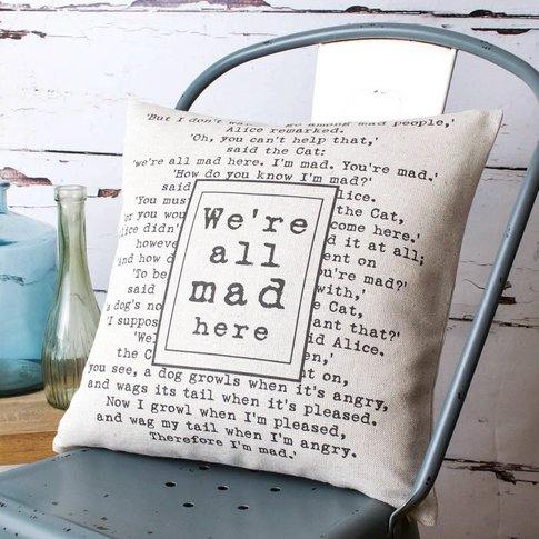 'We're All Mad Here' Cushion Cover, Black/White