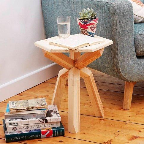 Wooden Hexagonal Side Table